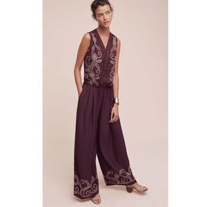 ANTHROPOLOGIE Ranna Gill Embroidered Jumpsuit
